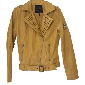 NWT Yoki mustard yellow vegan leather jacket